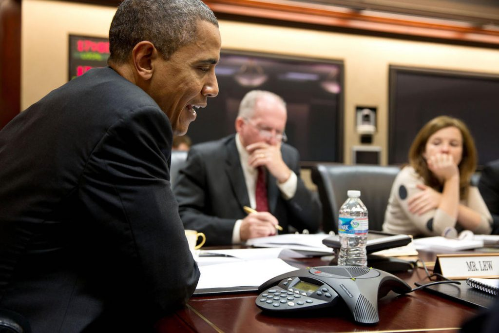 President Barack Obama participates in a conference call with electric utility executives to discuss the restoration of power for those who lost electricity during Hurrican Sandy, in the Situation Room of the White House, Oct. 30, 2012. John Brennan, Assistant to the President for Homeland Security and Counterterrorism, and Alyssa Mastromonaco, Deputy Chief of Staff for Ops, listen at right. (Official White House Photo by Pete Souza) This official White House photograph is being made available only for publication by news organizations and/or for personal use printing by the subject(s) of the photograph. The photograph may not be manipulated in any way and may not be used in commercial or political materials, advertisements, emails, products, promotions that in any way suggests approval or endorsement of the President, the First Family, or the White House.