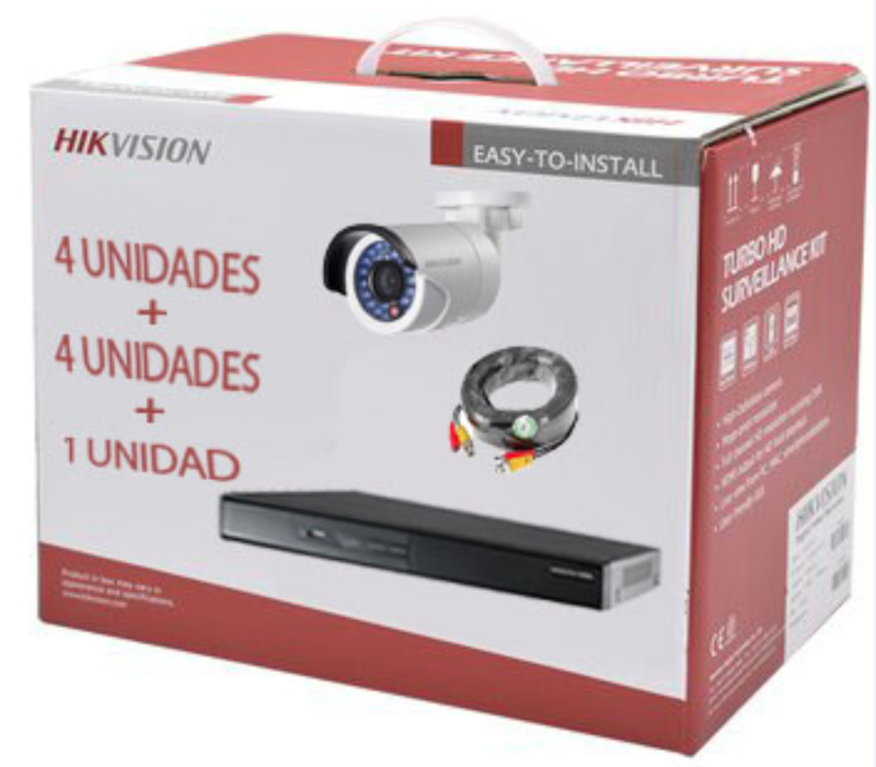 KIT HIKVISON DVR 4CH + 4 BULLET IP66 + 4 ROLLOS BNC 20MT + HDD 1TB